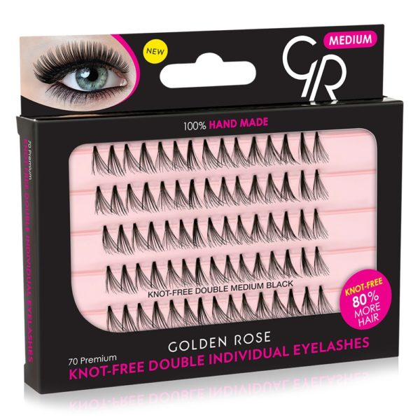 Knot-Free Double Individual Eyelashes create a volume effect with 80% more hair and a very natural look with the new knot-free technology. Easy to apply and lasts for weeks.