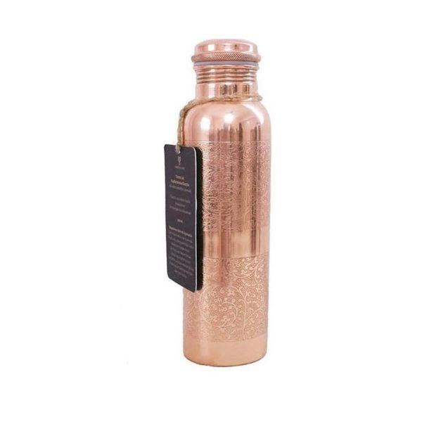 """Hydrate with Natures Luxury!! with Forrest & Love Copper Water BottlesThe engraved copper bottles are for all who appreciate regal beauty, elegant art and oriental touch. The bottles are handcrafted with pride by skilled artisans using traditional engraving techniques.With its majestic design, the bottle is your perfect companion for Yoga, Pilates, Work and Home. Its lighter than glass or steel bottles and eco-friendly than plastic and other junk. With your copper bottle you not just make a statement but also add good karma points to your life! If well taken care of, you can actually leave back something exquisite and full of health benefits for your grandchildren's children!Copper is known to bring amazing proven health benefits and is widely recommended by Yogis ad Ayurveda experts. Water stored in a copper vessel (which is known as """"tamra jal"""" in Ayurvedic medicine) balances the three doshas in your body (vata, kapha and pitta) by gently infusing the water with the positive health properties of copper. It also turns water into natural alkaline water, which helps balance your body's pH levels. To enjoy its maximum health benefits, let your water sit overnight in the bottle and drink it in morning for a healthy dose of copper nutrients necessary for a better life and mood.The engraved copper water bottle can hold up to 900 ml of water.Made of pure high-grade food-safe copper     