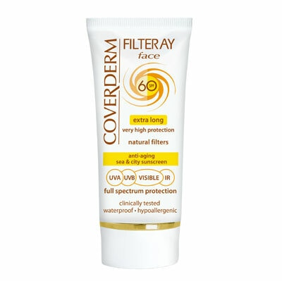 Coverderm Filteray Face is the ideal sea and city sunscreen. It provides extra long high protection from UVA/UVB/IR sunrays and visible light which lasts for at least 6 hours after each application. It contains natural filters only, which are extremely safe and photostable. Enriched with Vitamin C and Avocadin, it prevents premature aging, regenerates and hydrates the skin. Hypoallergenic and waterproof, it stays on, even when swimming or sweating! Coverderm Filteray Face is the safe choice for every day use to secure high protection throughout the year Hypo allergenic & Waterproof Available in No Tint & 2 different shades