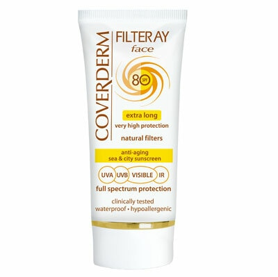 Coverderm Filteray Face is the ideal sea and city sunscreen. It provides extra long high protection from UVA/UVB/IR sunrays and visible light which lasts for at least 6 hours after each application. It contains natural filters only, which are extremely safe and photostable. Enriched with Vitamin C and Avocadin, it prevents premature aging, regenerates and hydrates the skin. Hypoallergenic and waterproof, it stays on, even when swimming or sweating! Coverderm Filteray Face is the safe choice for every day use to secure high protection throughout the year Hypo allergenic & Waterproof Available in 3 different shades
