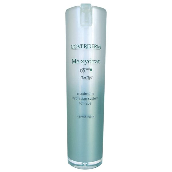 """Coverderm Maxydrat, thanks to its ultra-modern formula, based on the Nobel-winning Aquaporines discovery, mimics skin's mechanisms of moisturization. Cells throughout the epidermis """"flood"""" with water, instantly. Clinical studies prove 65% increase of hydration, in only 5 minutes after application! It renders skin an unsurpassed feeling of freshness, relaxation, vitality and healthNormal Skin: Apply everyday all over face and neck and experience amazing long lasting results! Oily Skin: Special oil-free, sebum regulating formula ideal for oily skin. Apply everyday all over face and neck and experience amazing, long lasting results! Dry & Sensitive Skin: Special formula ideal for dry and sensitive skin with anti-irritant action. Apply everyday all over face and neck and experience amazing, long lasting results!"""