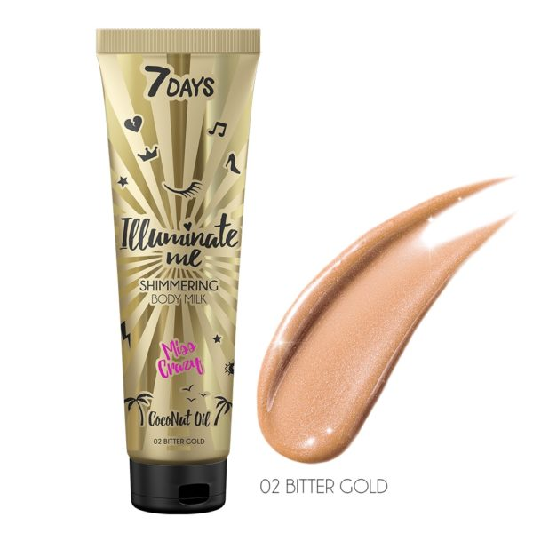 A shimmering body milk with a golden hue. Luxurious pearl-like drops accentuate your ideal body. Dancing in the sunlight or under the spotlight, you'll always shine! Collagen, Coconut and Shea oils are all in the mix, moisturizing and soothing your skin, making it supple and tender