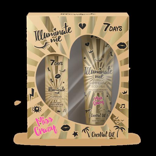 Gift set 7 DAYS ILLUMINATE ME MISS CRAZY №2 shimmering body milk & illuminating face fluid