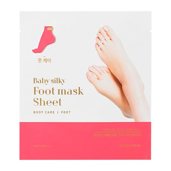 A moisturising foot maskWith two separate, disposable sheet masks, Baby Silky Foot Mask Sheet softens and moisturises. Soaking the feet in deeply nourishing ingredients, transform dry, flaking skin into super soft, smooth feet