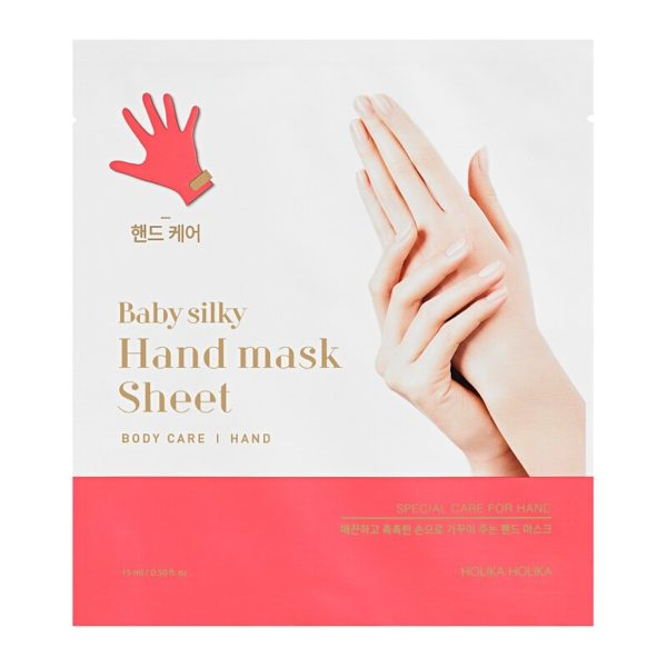 Sheet masks for dry, rough hands.With high concentrates of moisturising ingredients, Baby Silky Hand Mask Sheet transforms dry, damaged hands. Containing two disposable sheet masks, apply to both hands for up to 20 minutes for silky soft skin