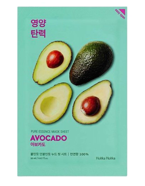 Soothing sheet mask with avocado extract intensely softens and moisturizes the skin, restores its elasticity. The mask is ideal for windy weather and effectively combats skin flakiness, and reduces inflammation and redness. The mask has an ultra thin basis that provides a tight contact with the skin and a better penetration of useful components in sheet mask