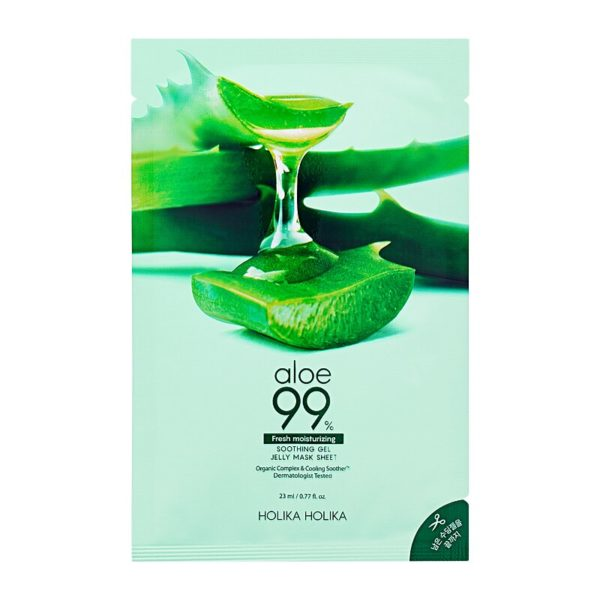 A moisturising Aloe Vera gel mask. Relieving inflammation, Aloe 99% Soothing Gel Jelly Mask Sheet reduces redness and soothes minor injuries and irritations. Helping to fight acne, the soothing gel cools the skin and prevents the rapid appearance of excess sebum