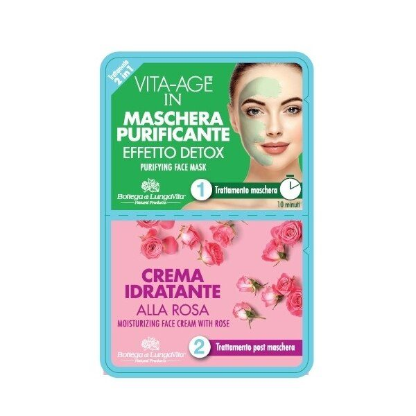 2 in 1 face treatment made up of: 1 STEP Purifying face mask with detox action, it deeply regenerates and purifies the skin giving a brighter and cleaner appearance. 2 STEP Moisturizing cream with Rose, ideal after the mask treatment, it restores the skin hydration.