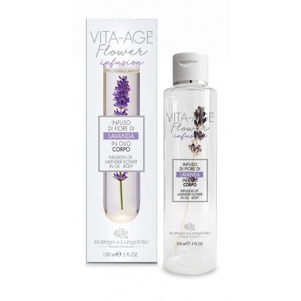 The lavender flower slowly releases its properties in the oils, enhancing their effectiveness. The formula contains a precious sweet almond oil with softening, emollient and nourishing properties combined with pure lavender essential oil. An infusion for the body that brings all the benefits of oils to the skin without leaving residues.ACTIVE PRINCIPLE: Real Lavender flower, Sweet almond oil, Lavender essential oil