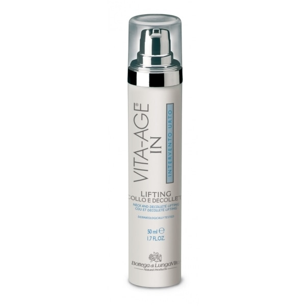 An intensive lifting treatment for neck and decolleté, with polysaccharides, ceramides and hyaluronic acid, especially developped for mature skin.